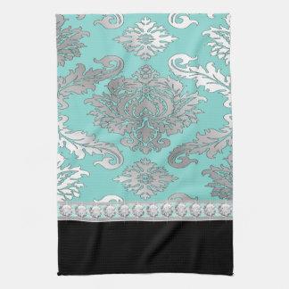 シックなティール(緑がかった色)の青いダマスク織の台所タオル キッチンタオル