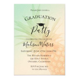 シックなパイナップル卒業のパーティの招待状 カード