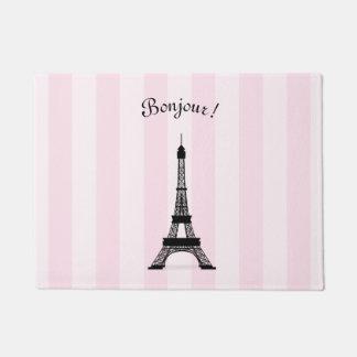 シックなパリのピンクのストライプの黒のエッフェル塔 ドアマット