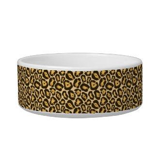 シックなヒョウのプリントの真珠のモノグラムの名前の皿 ボウル