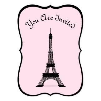 シックなピンクおよび黒いフランス人のスタイルのエッフェル塔 カード