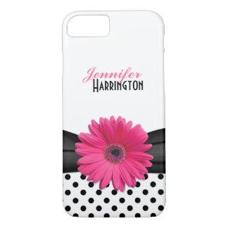 シックなピンクのガーベラのデイジーの水玉模様 iPhone 8/7ケース