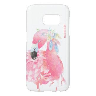シックなピンクのフラミンゴのカスタムなSamsung S7の例 Samsung Galaxy S7 ケース