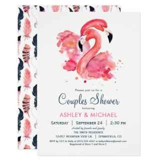 シックなピンクのフラミンゴのカップルのシャワーの招待状 カード
