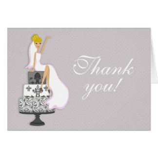 シックなピンクのモダンな花嫁のブライダルシャワーは感謝していしています カード