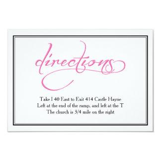 シックなピンクの書道の結婚式の方向カード カード