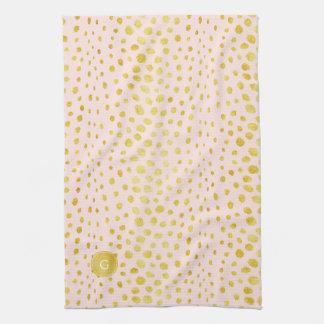 シックなピンクの模造のな金ゴールドのグリッターのチータのプリントのモノグラム キッチンタオル
