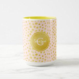 シックなピンクの模造のな金ゴールドのグリッターのチータのプリントのモノグラム マグカップ