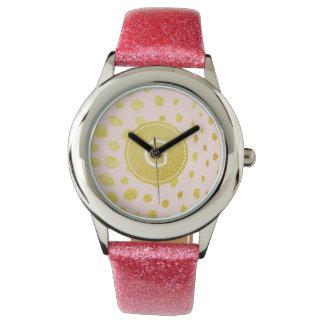 シックなピンクの模造のな金ゴールドのグリッターのチータのプリントのモノグラム 腕時計