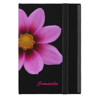 シックなピンクの花の名前入りなiPad Miniのフォリオの場合 iPad Mini ケース