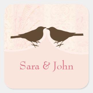 シックなピンクの鳥籠、愛鳥の封筒用シール スクエアシール
