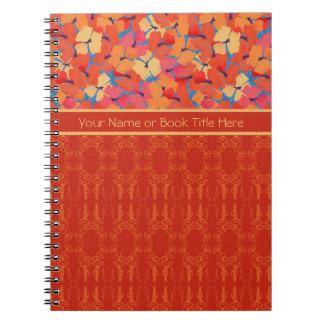 シックなピンク、オレンジ、黄色のケシの螺線形ノート ノートブック