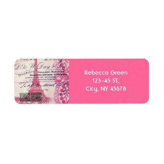 シックなフランス語はレースのピンクのパリエッフェル塔の台本を書きます ラベル