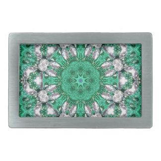 シックなボヘミアの万華鏡のように千変万化するパターンのエメラルドグリーンの曼荼羅 長方形ベルトバックル