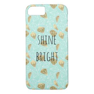 シックなミントおよび金ゴールドのダイヤモンドは明るい照らします iPhone 8/7ケース