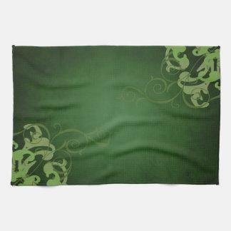シックなライムスクロール緑の台所タオル キッチンタオル