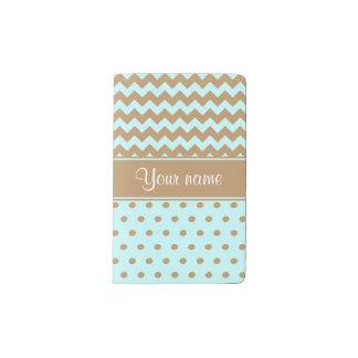 シックなラクダのシェブロンの水玉模様の空色 ポケットMoleskineノートブック