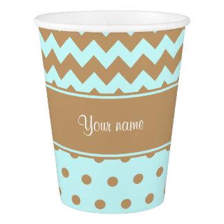 シックなラクダのシェブロンの水玉模様の空色 紙コップ