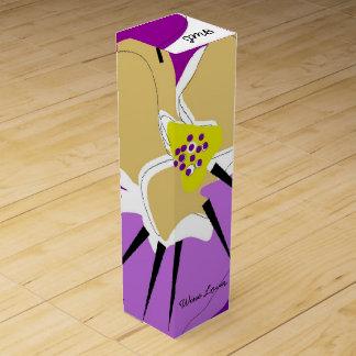 """シックなワインのギフトBOX_の""""ワイン愛好家""""の紫色のパンジー ワインギフトボックス"""