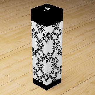シックなワインのギフトBOX_BLACK/WHITEの花柄 ワイン ギフトボックス