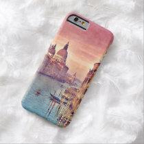 シックなヴィンテージのイタリアベニス運河のパステルの水彩画 iPhone 6 ベアリーゼアケース