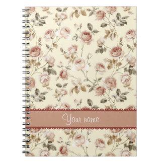 シックなヴィンテージのバラ ノートブック