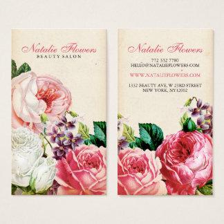 シックなヴィンテージの花のエレガントなピンクのバラベージュ色紙 名刺