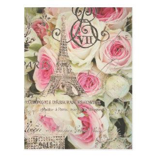 シックなヴィンテージの花のパリのピンクのバラ ポストカード