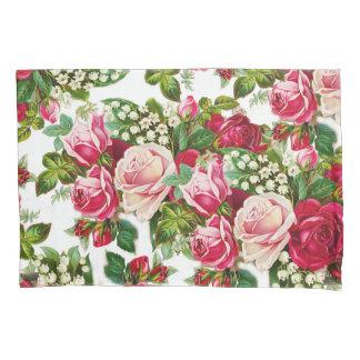 シックなヴィンテージの赤いピンクのバラの花模様 枕カバー