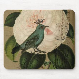 シックなヴィンテージの鳥のツバキのフランスのな植物の芸術 マウスパッド