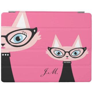 シックなヴィンテージ猫のiPad 2/3/4カバー-ピンク iPadスマートカバー