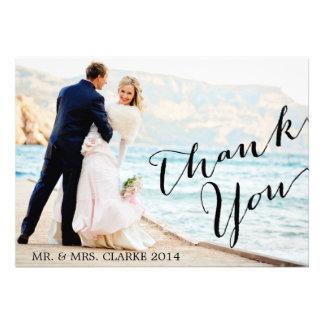 シックな写真の結婚式のサンキューカード