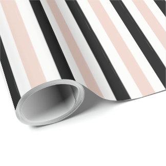 シックな包むPAPER_モダンなピンクの/BLACKは縞で飾ります ラッピングペーパー