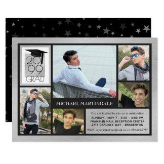 シックな卒業生の帽子及び年の ブラシをかけられた銀 の5写真 カード