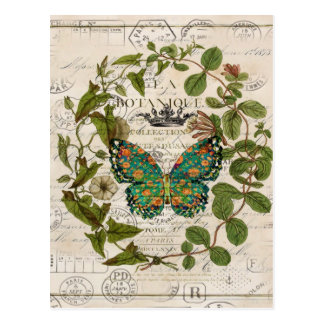 シックな原稿のフランスのな国の植物の蝶 ポストカード