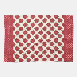 シックな台所タオルかふきん: 深紅のバラ キッチンタオル