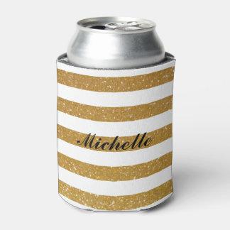 シックな名前をカスタムするの金ゴールドのグリッターのストライプのな缶のクーラー 缶クーラー