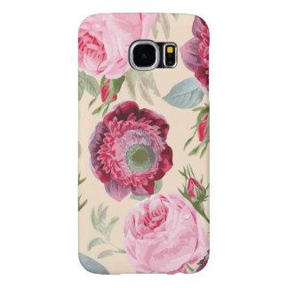 シックな国の署名のピンクの花柄 SAMSUNG GALAXY S6 ケース