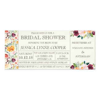 シックな園遊会の花のブライダルシャワーの招待状 10.2 X 23.5 インビテーションカード