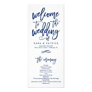 シックな手の教養がある結婚式プログラム海軍 カード