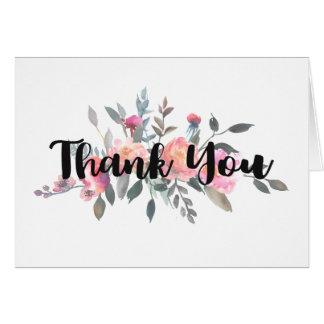 シックな水彩画のシャクヤクの花の結婚式は感謝していしています ノートカード