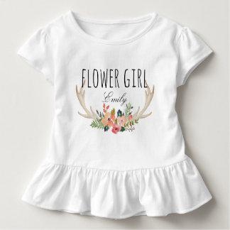 シックな水彩画の花のシカの角の/Flowerの女の子11 トドラーTシャツ