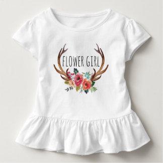 シックな水彩画の花のシカの角の/Flowerの女の子9 トドラーTシャツ