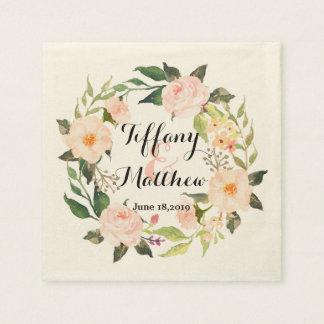 シックな水彩画の花のリースの結婚式2 スタンダードカクテルナプキン