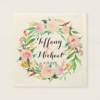 シックな水彩画の花のリースの結婚式3 スタンダードカクテルナプキン