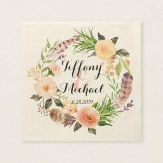 シックな水彩画の花のリースの結婚式5 スタンダードカクテルナプキン