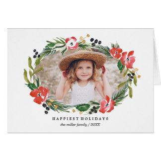シックな水彩画の花の休日の写真 カード