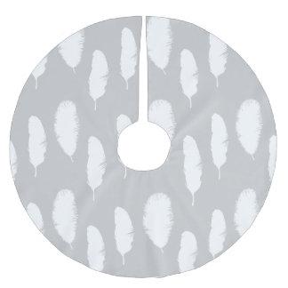 シックな灰色および白い羽 ブラッシュドポリエステルツリースカート