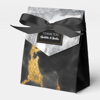 シックな白黒および金ゴールドの大理石の好意箱 フェイバーボックス