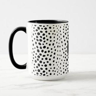シックな白黒のチータのプリントパターンモノグラム マグカップ